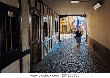 Cologne, Germany - February 24, 2018: Passage To The Heumarkt In The Old Town Of Cologne. With A Pop