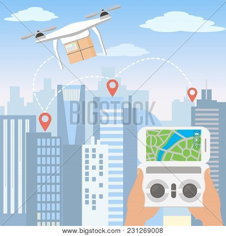 Vector Illustration Of Hands Launching Delivery Drone With Package By Smartphone In Front Of The Sky