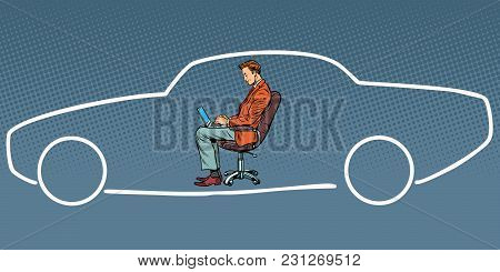 Businessman Working On Laptop And Dreaming About Car. Comic Book Cartoon Pop Art Retro Vector Illust