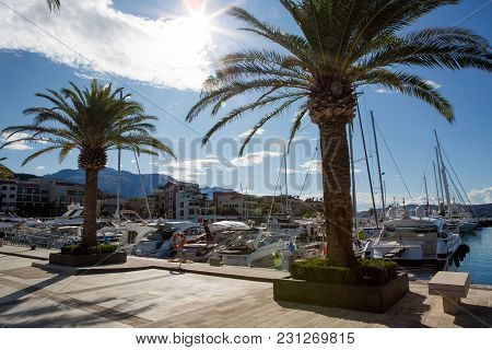 Tivat, Montenegro - September 21: Group Of Large Yachts Stands At The Pier In The Bay In The Europea