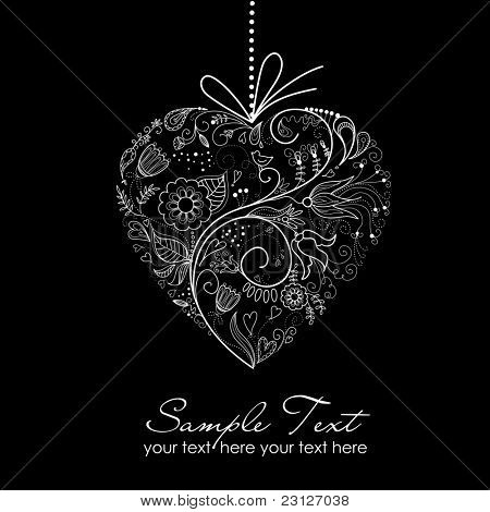 Black and White Valentine Heart illustration.