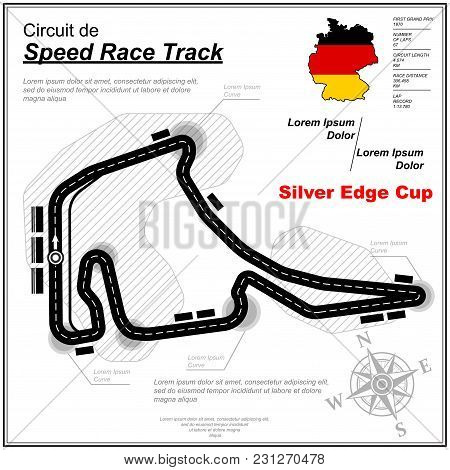Abstract Black Speed Race Map Isolated On White Background