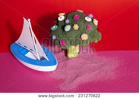 Pink Red Broccoli Flowers And Toy Boat