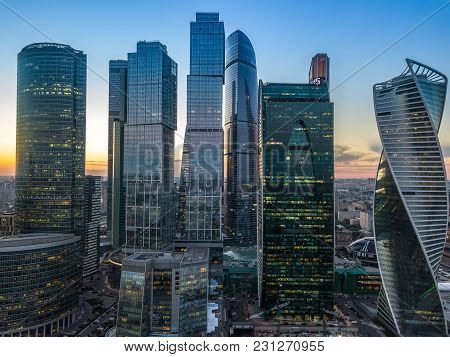 Moscow International Business Center And Moscow Urban Skyline After Sunset
