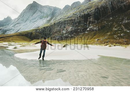 Man Walking Alone In Mountains Travel Lifestyle Exploring Concept Adventure Outdoor Summer Vacations