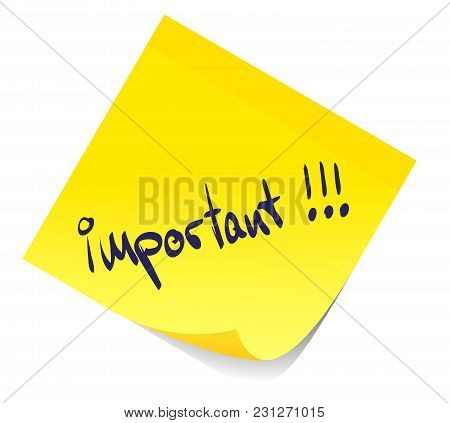 Word Imortant Written On Yellow Sticky Note