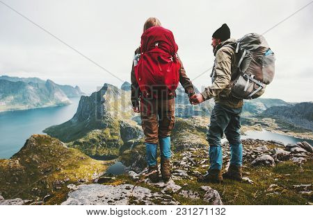 Couple Backpackers Holding Hands Enjoying Mountains View Family Traveling Together Adventure Lifesty