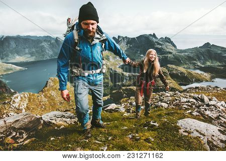 Couple Man And Woman Holding Hands Travelers Hiking In Mountains Family Traveling Together Adventure