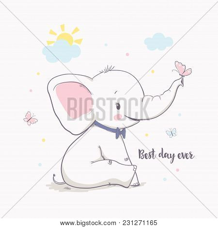 Little Elephant With Butterfly. Vector Illustration For Kids. Cartoon Vector Illustration For Kids.
