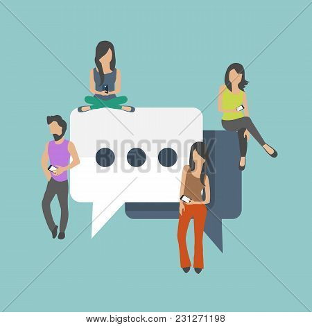 People Sitting On Big Symbols. Speech Bubbles For Comment And Reply Concept. Flat Vector Illustratio