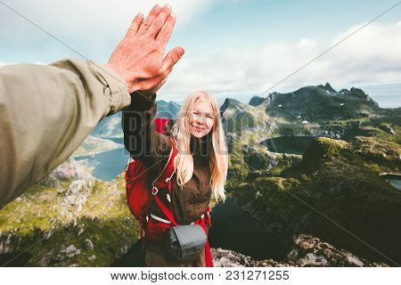 Happy Couple Friends Giving Five Hands Hiking In Mountains Travel Lifestyle Positive Emotions Concep
