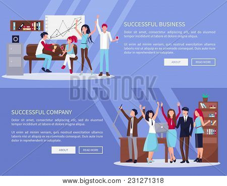 Successful Business And Company, Pages With Text Sample And Two Buttons In It, Workers Relaxing And