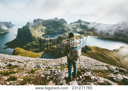 Man Hiking In Mountains Enjoying Norway Landscape Travel Adventure Healthy Lifestyle Concept Active