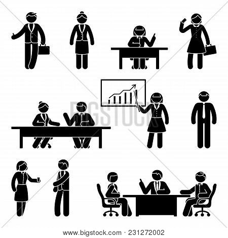 Stick Figure Business Report Icon Set. Vector Illustration Of Workplace On White