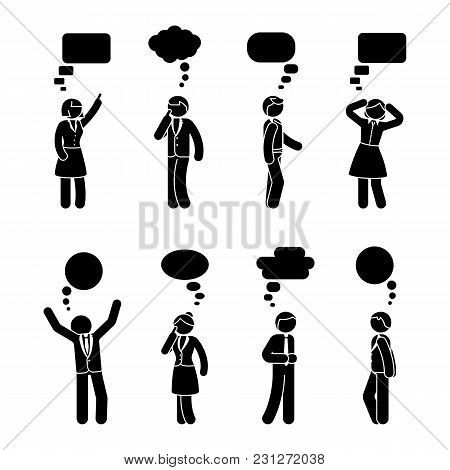 Stick Figure Business People Speech Bubble Set. Vector Illustration Of Coworkers Conversation On Whi