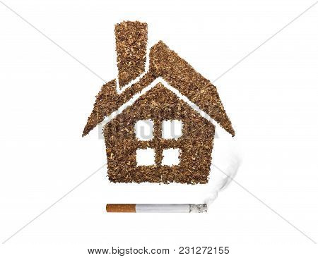 Home Smoking Cigarettes Isolated From White Background.
