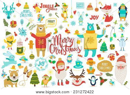 Merry Christmas, Jingle Bells, Holly Jolly, Set Of Items Dedicated To Wintertime Holidays, Animals A