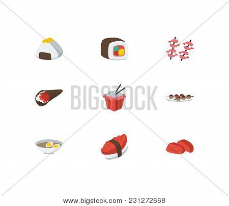 Nutrition Icons Set. Sashimi And Nutrition Icons With Fast Food, Tako Maki And Sushi Roll. Set Of El