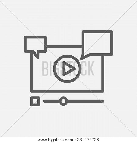 Video Marketing Icon Line Symbol. Isolated Vector Illustration Of  Icon Sign Concept For Your Web Si