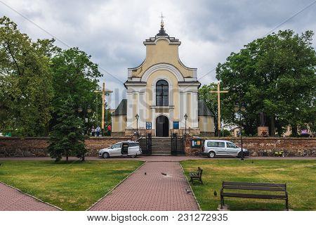 Gora Kalwaria, Poland - June 24, 2017: Holy Cross Exaltation Church In Gora Kalwaria, Small Town Nea