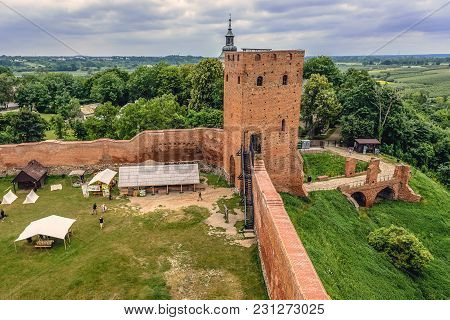 Czersk, Poland - June 24, 2017: View Of The Courtyard Of Castle From Turns Of 14 And 15th Centuries