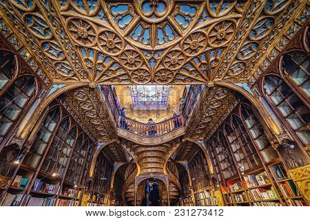 Porto, Portugal - November 13, 2017: Lello Bookstore In Porto, Considered To Be One Of The Most Beau