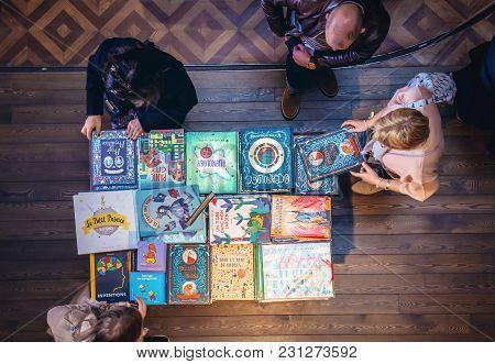 Porto, Portugal - November 13, 2017: People Buys Books In Lello Bookstore In Porto, Considered To Be