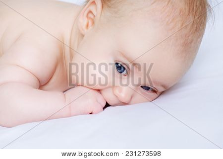 Portrait of a sweet three-month-old baby. baby care, Healthcare.