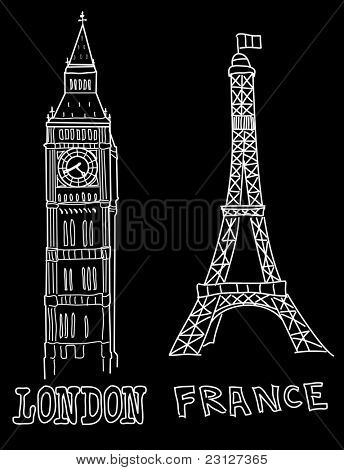 Big Ben and Eiffel Tower