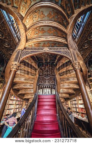 Porto, Portugal - November 13, 2017: Stairs In Lello Bookstore In Porto, Considered To Be One Of The
