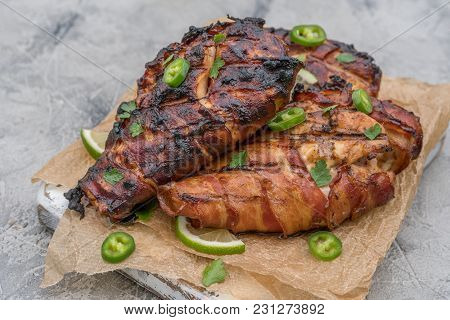 Grilled Bacon Wrapped Chicken Breast With Jalapeno, Herbs And Lime