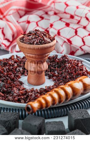 Hookah With Apple Flavor In A Clay Bowl, Cooked For Smoking, Stands On A Tray