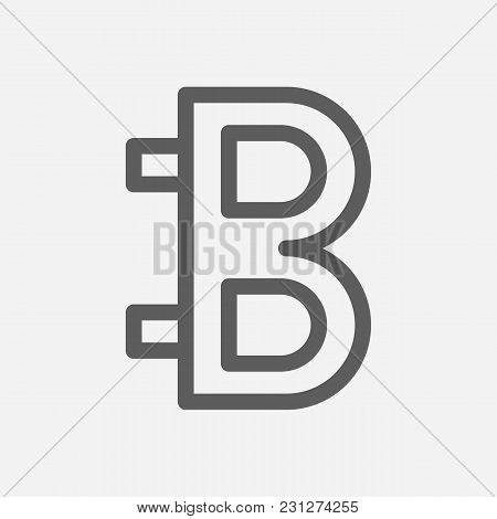 Bitcoin Icon Line Symbol. Isolated Vector Illustration Of Digital Money Sign Concept For Your Web Si