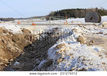 Salo, Finland - February 3, 2018: Trench For Laying Underground Power Cable At A Rural Work Site On