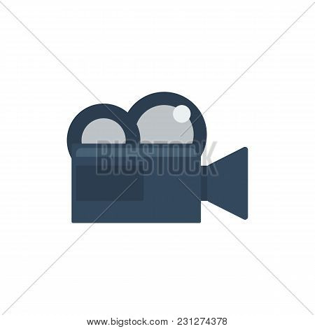 Cinema Camera Icon Flat Symbol. Isolated Vector Illustration Of Camcorder Sign Concept For Your Web
