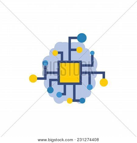 Artificial Intelligence Icon Flat Symbol. Isolated Vector Illustration Of Ai Sign Concept For Your W