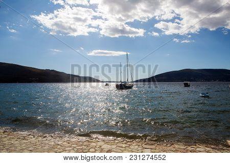 Herceg Novi, Montenegro - September 22: White Big Empty Yacht Anchored In The Bay Of Montenegro In T