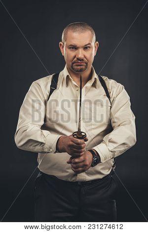 Yakuza Member With Tanto Knife Looking At Camera