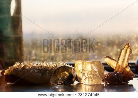 Natural mineral Crystal close up