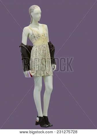 Full-length Female Mannequin Wearing Fashionable Dress With Flower Pattern, Isolated. No Brand Names