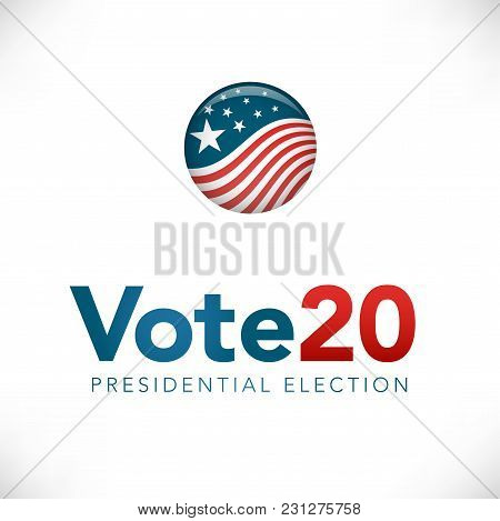 Election Header Banner W Vote 2020 With Patriotic Stars And Stripes Theme