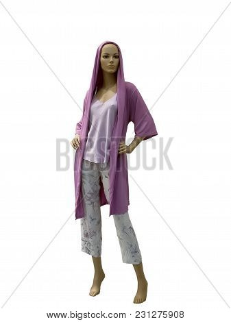 Full-length Female Mannequin Dressed In Leisure Wear, Isolated On White Background. No Brand Names O