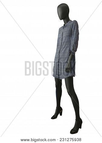 Full-length Female Mannequin Wearing Shirt Dress, Isolated On White Background. No Brand Names Or Co
