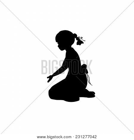Silhouette Girl Sitting Lap With Hand Down. Vector Illustration