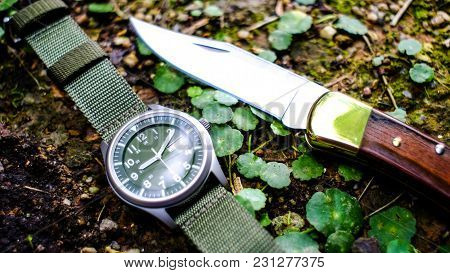 Knife And Watch In The Form Of Vintage. Knife For Military Operations.