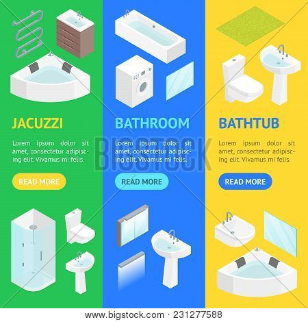 Furniture Bathroom Interior Banner Vecrtical Set For Apartment, Shop Or Hotel Isometric View Include