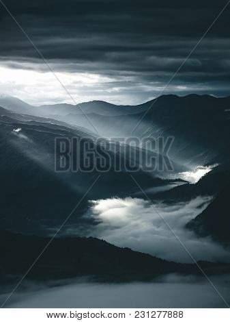 Amazing view of the lake Koruldi at the foot of mountain Ushba. Location Upper Svaneti, Mestia, Georgia, Europe. High Caucasus ridge. Beautiful nature landscape. Discover the beauty of earth.