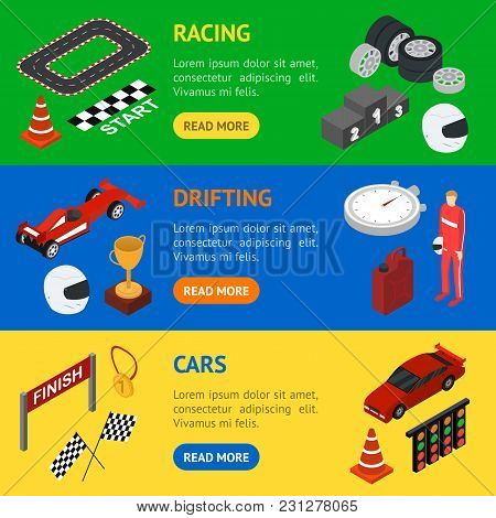 Racing Sport Banner Horizontal Set Isometric View Element Web Design For Competition And Award. Vect
