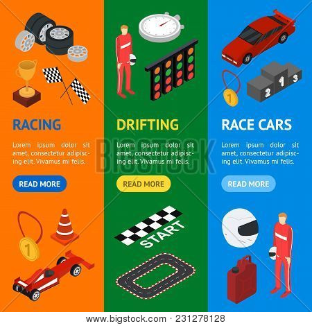 Racing Sport Banner Vecrtical Set Isometric View Element Web Design For Competition And Award. Vecto