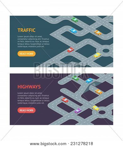 Road Map Design Banner Horizontal Set Isometric View. Element Traffic For Direction Transport In Tow